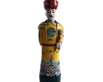 Vintage Wucai Porcelain Statue Chinese Emperor Qing Imperial Dynasty