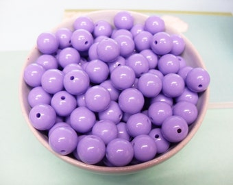 50x Purple Solid Colour Resin Globe Round Beads 12mm