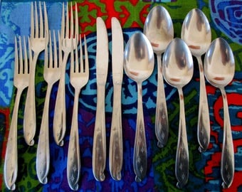 60s 70s Starburst Scroll Stainless Flatware Odd Lot Forks Knives Spoons 12 pieces