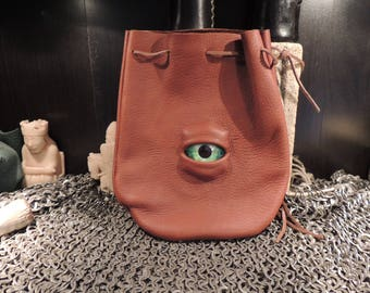 Medium bag--- Brown leather with Green  Eye