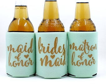 Bridesmaids Proposal  Can Coolers,, Maid of Honor, Matron of Honor, Bridesmaid, Mint with metallic gold