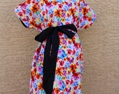 Katie Maternity Hospital Gown - Multi Color Watercolor Flowers and Butterflies - Lined in Your Choice of Colors - by Mommy Moxie on Etsy