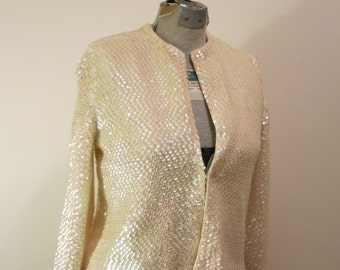 Sequined Cardigan Sweater jacket white PEARL opal 1950s vintage coat rockabilly pinup L
