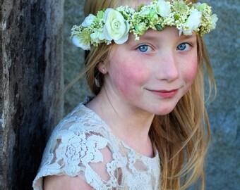white and green headband, flower tieback, Ready to ship,halo headband,flower girl headband,bridal headband,flower crown, flower crown,