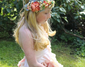 deep peach flower crown, READY TO SHIP, vintage peach tieback, maternity flower sash, ready to ship, just add measurement