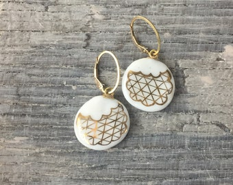 Earrings, Polar Ice Porcelain and German Gold Luster, handpainted