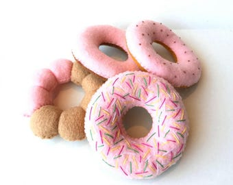 Felt food donuts set (pink) eco friendly kid's play food for toy kitchen, set of 4 felt donuts, toy donuts, felt donuts, pretend donuts