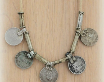 Vintage Banjara coins Necklace Gypsy Nomad Bohemian statement layering jewelry by Inali model BNJ #6
