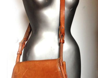 vintage handmade leather saddle bag cross body - shoulder bag - purse