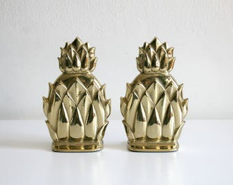 SALE Brass Pineapple Bookends