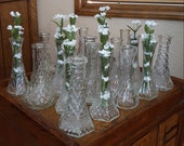 "19 Clear 6"" Glass Bud Vases - Wedding Table Centerpieces - Oak Hill Vintage - Lot 6"