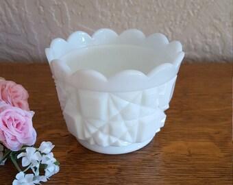 SALE - Small Westmoreland Milk Glass Vase Candle Holder - Old Quilt Bowl - Oak Hill Vintage