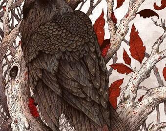 "8x10"" Metallic Print A Raven in Winter"