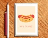 Hot Dog Funny Valentines Day Card, Birthday Card