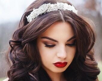 Rhinestone and Lace Beaded Headpiece, Bridal Headband, Crystal Headband, Vintage Wedding, Bridal Hair Accessories, Ivory Rhinestone Headband