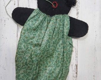 Vintage Golliwog Doll String Holder, Handmade Black Americana, Folk Art, Calico Dress