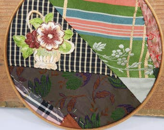 Vintage Embroidery Hoop Crazy Quilt Wall Hanging with Silk Flower Applique, Silk Fabric, Primitive Textile Art