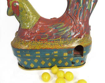 Vintage Egg Laying Chicken Hen, Crank Wind Up Tin Litho Toy by Baldwin, EASTER, Spring Decor