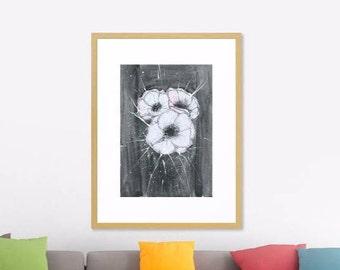 Anemone Art Print Original Watercolor Artwork, Black White Flower Watercolor Original Art Print,   Modern Art Home decor, Abstract Art