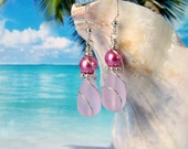 Pink teardrop seaglass beads rose pearl wire wrapped earrings beach tumbled glass earrings