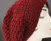 "Knitted ""Maroon"" Beanie,  Slouchy Head Accessory,  Boho-chic"