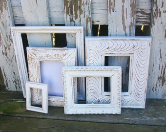 Set of 5 Distressed Shabby Chic Bright White Picture Frames for Gallery Wall, Wedding Decor, Nursery Decor