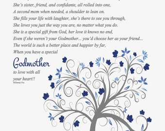 To Godmother from Godchild's Parents-Godmother Thank You-Baptism Gift for Godmother-To Godmother from Godchild--Throughout Your Life Poem