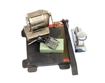 Vintage Office Lot - Instant Collection Pencil Sharpener, Date Stamp, Paper Cutter, Stapler