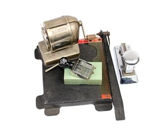 Vintage Office Lot - Instant Collection Pencil Sharpener, Date Stamp, Paper Cutter, Stapler