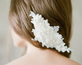 Lace Bridal Hair Piece, Ivory Lace Hair Piece, Lace Bridal Headpiece, Ivory Bridal Headpiece, Beaded Lace Comb - BETHANY