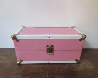 Vintage '60s Pink Metal Doll Carrying Case, Starburst Interior! Vintage Metal Case, Mini Steamer Trunk!