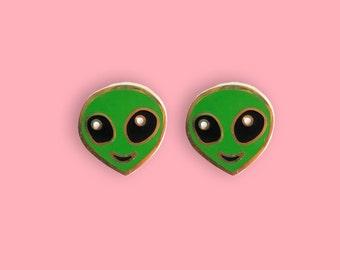 Alien Emoji Earrings - 22k Gold Plated Alien Studs