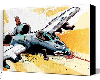 Airplane - A-10 Thunderbolt II Warthog - Canvas Art Print, Airplane Decor, Air Force, Military Gift, Aviation, Pop Art, Pilot gift