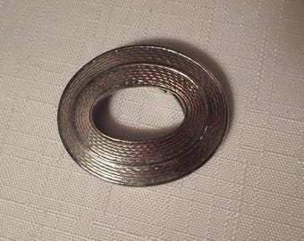 OVAL SCARF CLIP / Made in Germany / Clasp / Scarf Loop / Ascot Clip / Dress Clip / Fur Clip / Silver / Modernist / Retro / Chic / Accessory