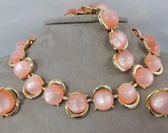 Vintage CORO Pink Moonglow Cabochon Choker Necklaces Bracelet & Clip On Earrings    OAH21