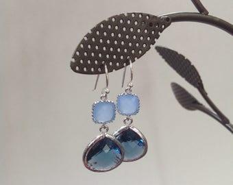 Blue Earrings, Navy blue and ice blue Earrings, bridesmaid blue earrings, 2 Blue tone earrings,blue wedding earrings, bridesmaid gift