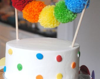 Rainbow Yarn Pom Pom Cake Topper | pom poms | handmade pom poms | Party Decor | Banners | Buntings | Photo Props | Cake Topper