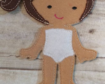 Un-Paper Doll with Brown Hair and White Underwear & Night Gown, Flat Doll, Pretend, Make Believe, Birthday Gift, Gift Giving, Kids, RTS