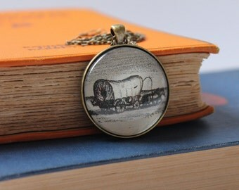 Little House on the Prairie pendant | Laura Ingalls Wilder | covered wagon necklace | homesteading jewelry | book jewelry | farmer pendant