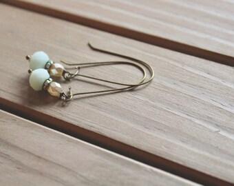 Ivory pearl bead, rhinestone, and pale pink glass bead drop earrings, kidney wire earrings