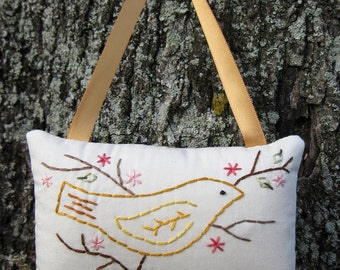 Spring Hand Embroidered Ornament, Spring Decoration, Gold Yellow Bird, Pink Flowers Tree, Dogwood, Bird Door Hanger, Garden decor