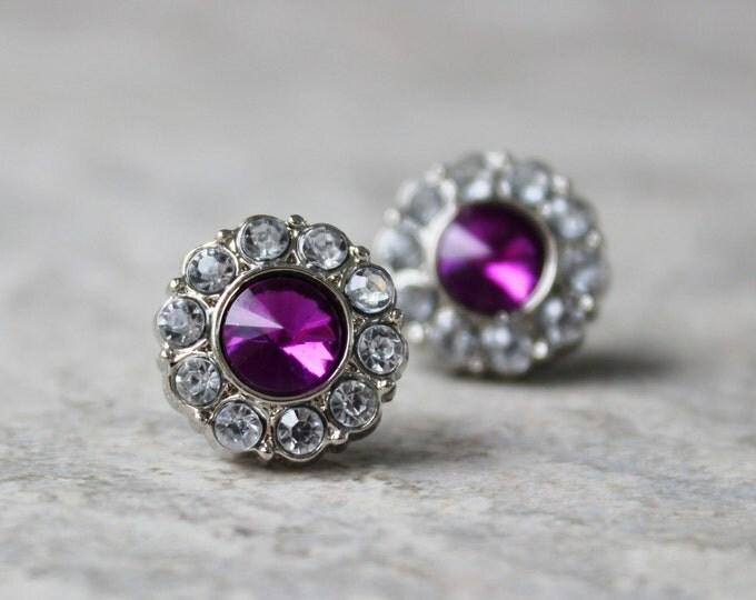 Purple Bridesmaid Jewelry, Purple Earrings, Amethyst Earrings, Purple Wedding Jewelry, Purple Jewelry, Crystal Bridesmaid Earrings