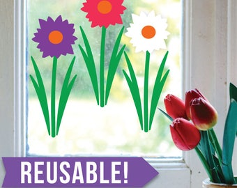 Easter Decorations - Spring Decor -  Window Cling - Reusable Wall Decals - Window Decals - Window Clings - Flower Decal - Daisy - Daisies