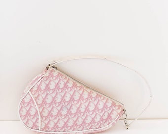 CHRISTIAN DIOR saddle bag - pink and white coated canvas monogram