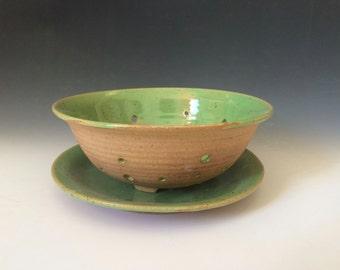 Green Fruit Bowl, Ceramic Colander, Rustic Fruit Bowl Made in Stoneware