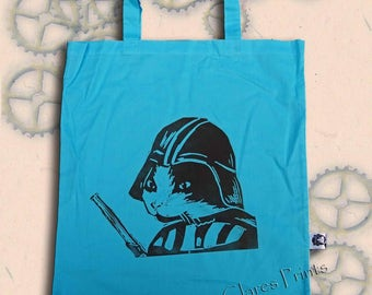 Darth Vadar Cat Bag Hand Printed Tote Shopping Red Blue Cream