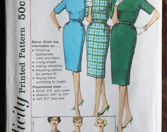 Early 1960s Simplicity Printed Pattern 3574 Sheath Dress, Bust 34