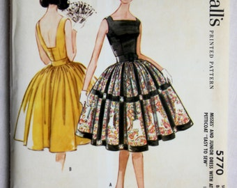Vintage 1961 McCall's Printed Pattern 5770 Dress & Attached Petticoat 33 Bust