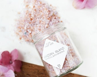 Unicorn Bath Salts | Easter Gift | Natural Vegan Bath Salts | Dead Sea Pink Himalayan Salt Bath Soak | Spa & Relaxation | Unicorn Island