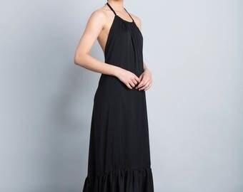 Black prom dress, Open back maxi dress, elegant party dress, collar top, loose fit, bottom frill dress, formal bridesmaid dress, Boho dress